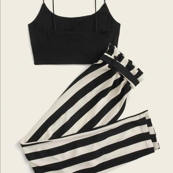 SHEIN Crop Cami Top and Paper Waist Striped